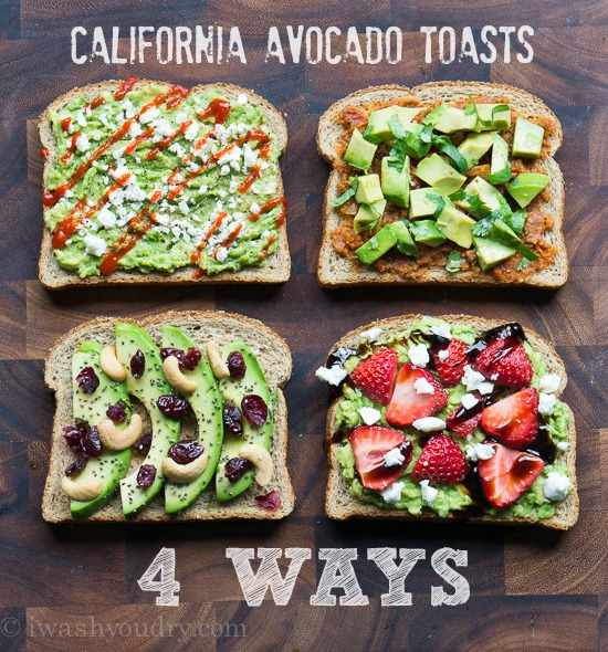 California Avocado Toast - 4 Ways